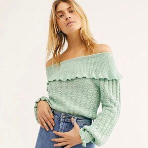 Free People Mint Off the Shoulder Ruffle Sweater